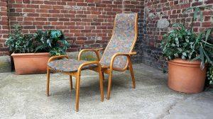 Fauteuil lamino + Ottoman Ingve Ektröm. Design du XXème. Scandinave. Vintage. Galerie87.com