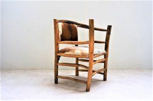 Fauteuil brutaliste en bois naturel. Midcentury. Vintage. XXème. Galerie87.com