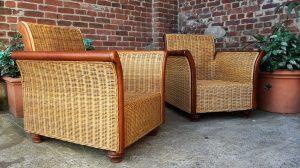 Paire de fauteuils vintage en rotin. Scandinave. Antiquités du XXème. Design du XXème. Galerie87.com