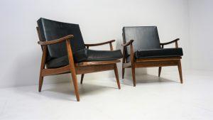 fauteuils vintage scandinave en teck. Antiquités du xxème. Design du XXème. www.galerie87.com
