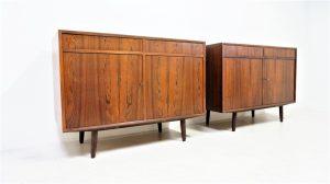 Paire de buffets en palissandre. Scandinave. Vintage. Design du XXème. Galerie87.com