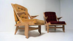 Guillerme et Chambron. Fauteuils vintage. Design du xxème. Antiquités du xxème. www.galerie87.com