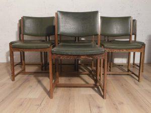8 chaises modernistes, bois de palmier, 1950. Antiquités du XXème. Design du XXème. www.galerie87.com