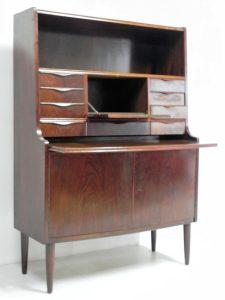Secrétaire scandinave en acajou. Vintage. Design du XXème. Antiquités. www.galerie87.com