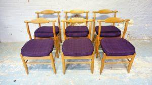 6 chaises Fumay Guillerme et Chambron. vintage. design du XXème. antiquités du XXème. Galerie87