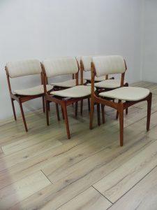 Eric Buch, chaises teck. Antiquités du XXème. Design du XXème. www.galerie87.com