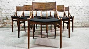 Six chaises scandinave en palissandre V. Eriksen. Vintage. XXème. Midcentury. Galerie87.com