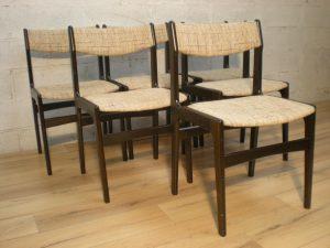 6 chaises scandinave. Antiquités du XXème. Design du XXème. www.galerie87.com