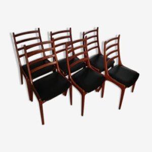 6 Chaises Kai Kristiansen. Vintage. Scandinave. Design du XXème. antiquités du XXème. Galerie87